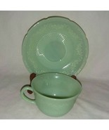 Vintage Alice Green Jadeite Cup Saucer 1940s Fire King By Anchor Hocking... - $24.99