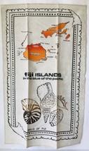 """Shells of Fiji Islands Linen Tea Towel Map Seashells 28.5 x 17.5"""" Wall D... - $16.44"""
