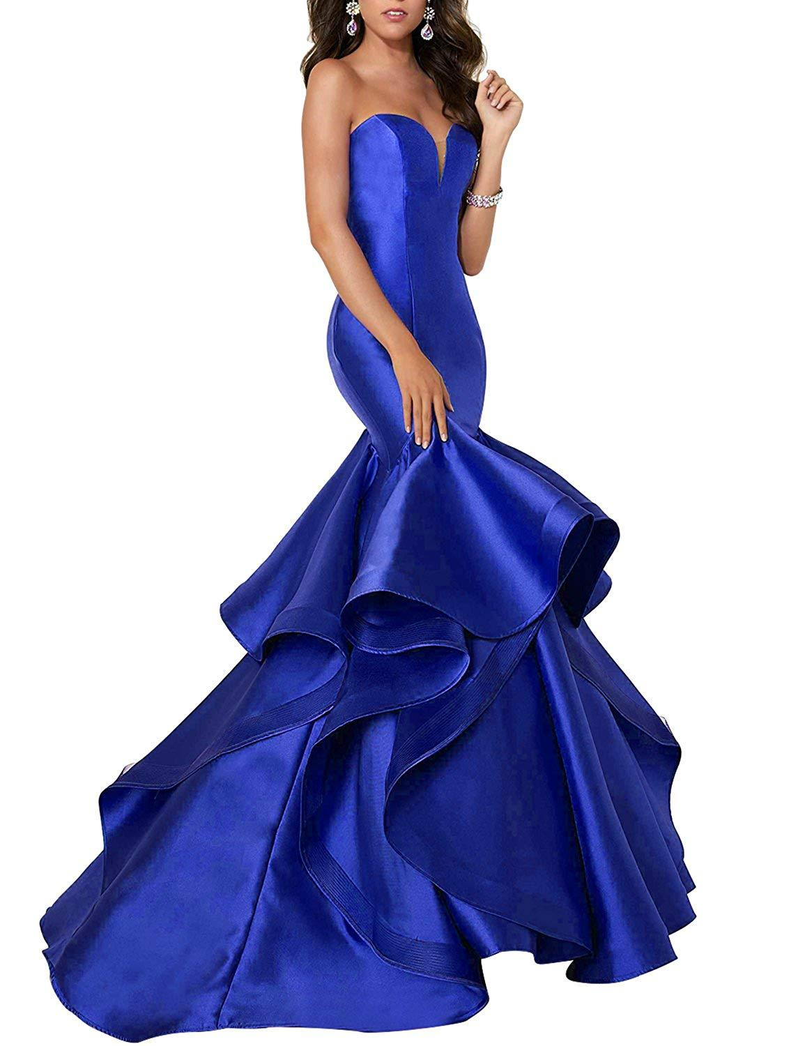 Sweetheart Mermaid Prom Dress Long Satin Ruffles Formal Party Gown Lace Up Back
