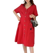 Maternity's Dress V Neck Short Sleeve Loose Solid Color Dress - $31.99