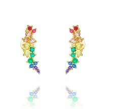 Dainty Yellow Sterling Silver Signity CZ Mixed Colors Cuff Stud Earrings - $34.64