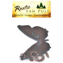 Country Western Rusted Patina Iron Metal Cutout Butterfly Fan Light Pull Chain