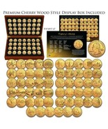 1999-2009 Complete 24K GOLD Clad State Quarters 56-Coin Set CherryWood S... - $121.51