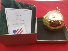 2012 Wallace Annual Gold-Plated Sleigh Bell Ornament 23rd Edition #8227 - $49.95