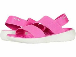 Crocs Literide Stretch Sandal Women's Size 9, 10 Electric Pink/White 206081-6QV - $29.95