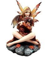 Pretty Fall Fire Damsel Fairy With Hatchling Red Dragon Figurine Statue - €61,16 EUR