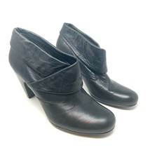 Sofft Freeda Black Leather Fold Over Heeled Ankle Boots Sz 12 - $32.73