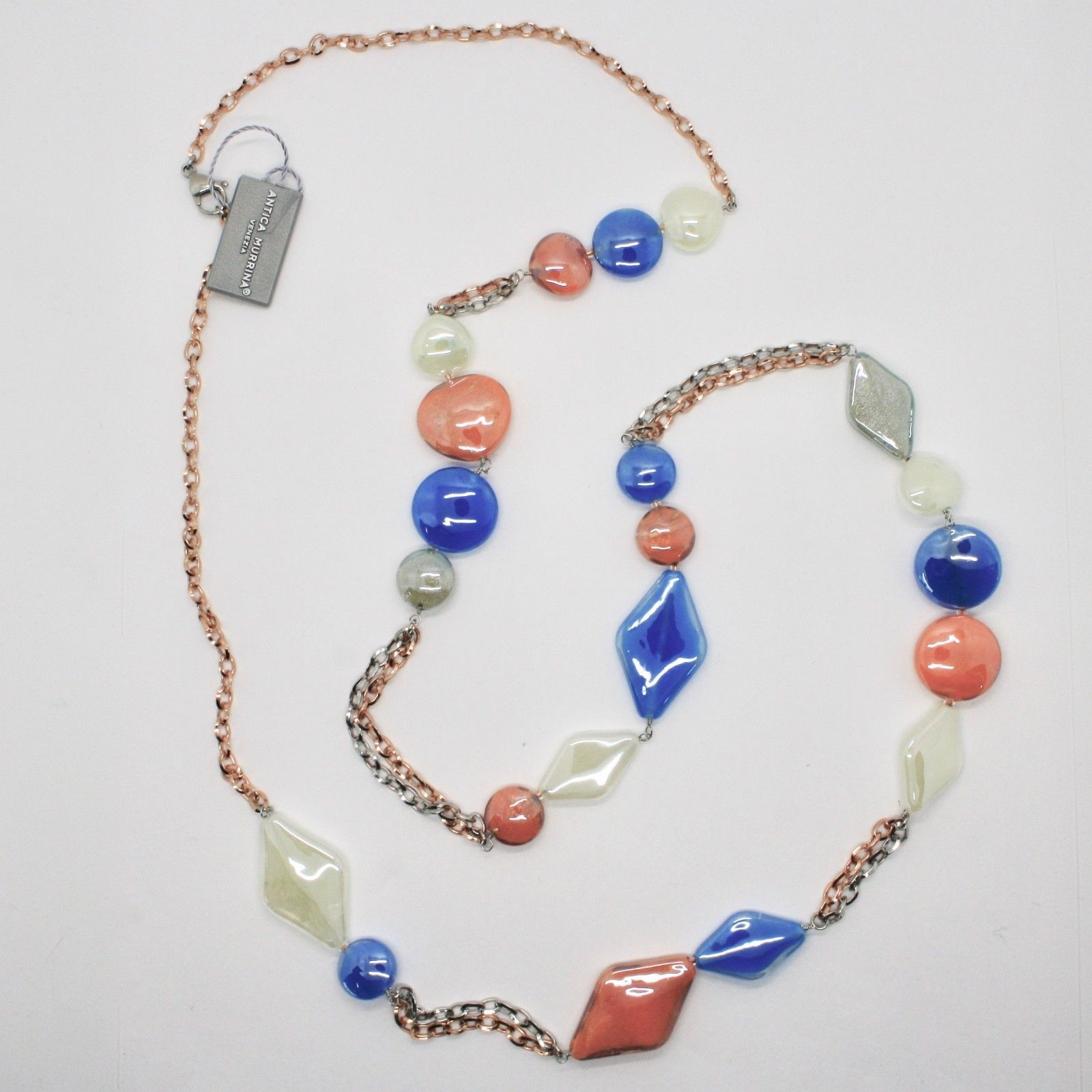 ANTICA MURRINA VENEZIA NECKLACE WITH MURANO GLASS ORANGE BLUE GRAY COA85A46