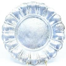 Vintage Hand Engraved Hammered Floral Pattern Silver-Tone Metal Serving Platter image 1