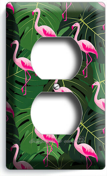 PINK FLAMINGO GREEN TROPICAL LEAVES PATTERN OUTLET WALL PLATE BEDROOM ROOM DECOR