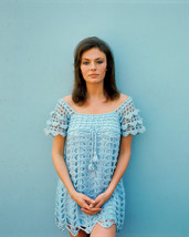 Jacqueline Bisset Sexy in Short Crochet Blue Dress 1960s 16x20 Canvas Gi... - $69.99