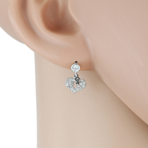 "UE-  Silver Tone & Swarovski Style Crystal ""Key to my Heart"" Designer Earrings - $13.99"