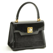 GIANNI VERSACE Sun Face Hand Bag Black Unborn Calf Enamel Auth 10130 - $210.00