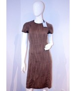 BLUMARINE Straight RUNWAY Slit DRESS Zip BROWN Italy WOOL Blend 6 $600 - $499.97