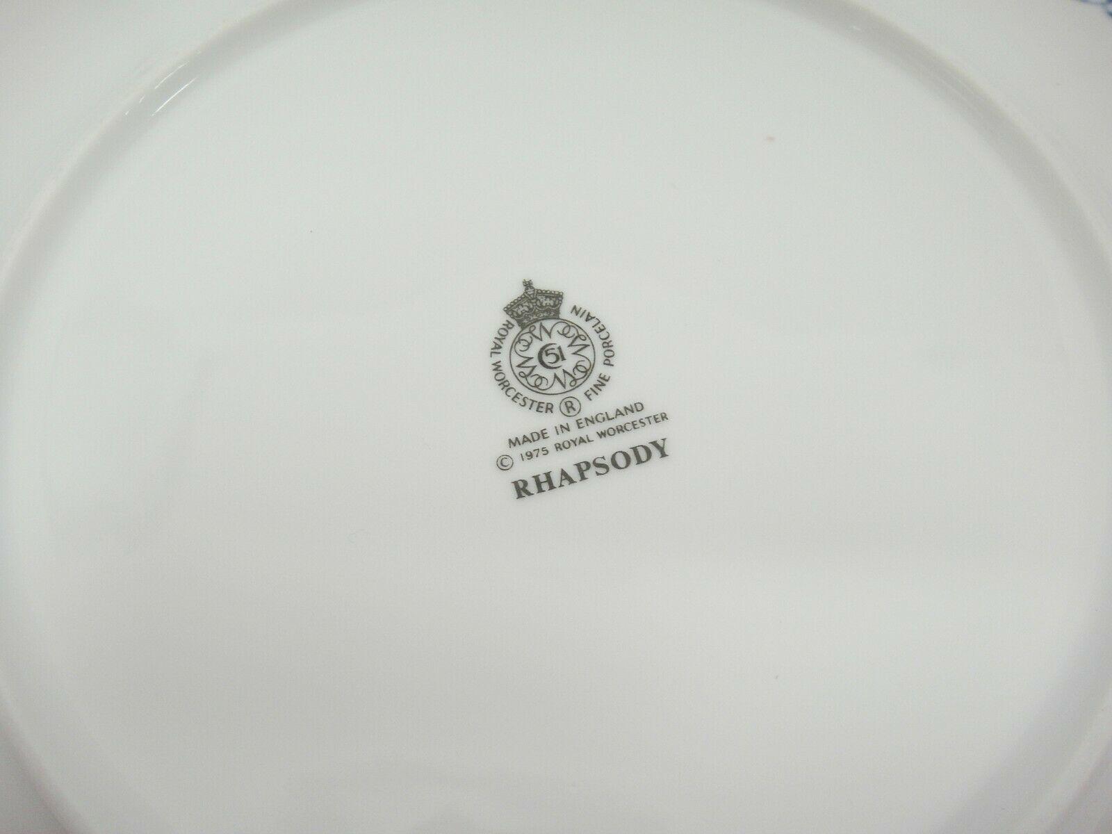Royal Worcester Rhapsody Salad Plates Lot of 3 Blue Floral England Excellent image 3