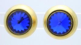 Vintage Gold Tone Blue Rivoli Glass Rhinestone Clip Earrings - $19.80