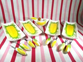 Vintage 14pc Lillian Vernon 3D Corn Cob Plates, Picks & Butter Dish Set ... - $48.00