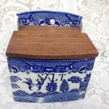 Vintage, Japan,  Blue Willow Salt Jar 5in H x 5in L x 4inH (#2) - $85.45