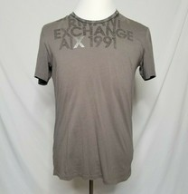 Armani Exchange A/X Mens L T-Shirt Graphic Tee Spellout Gray Short Sleev... - $24.99