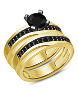 Round Cut Black CZ Yellow Gold Plated Pure 925 Silver Engagement Bridal Ring Set - $89.99