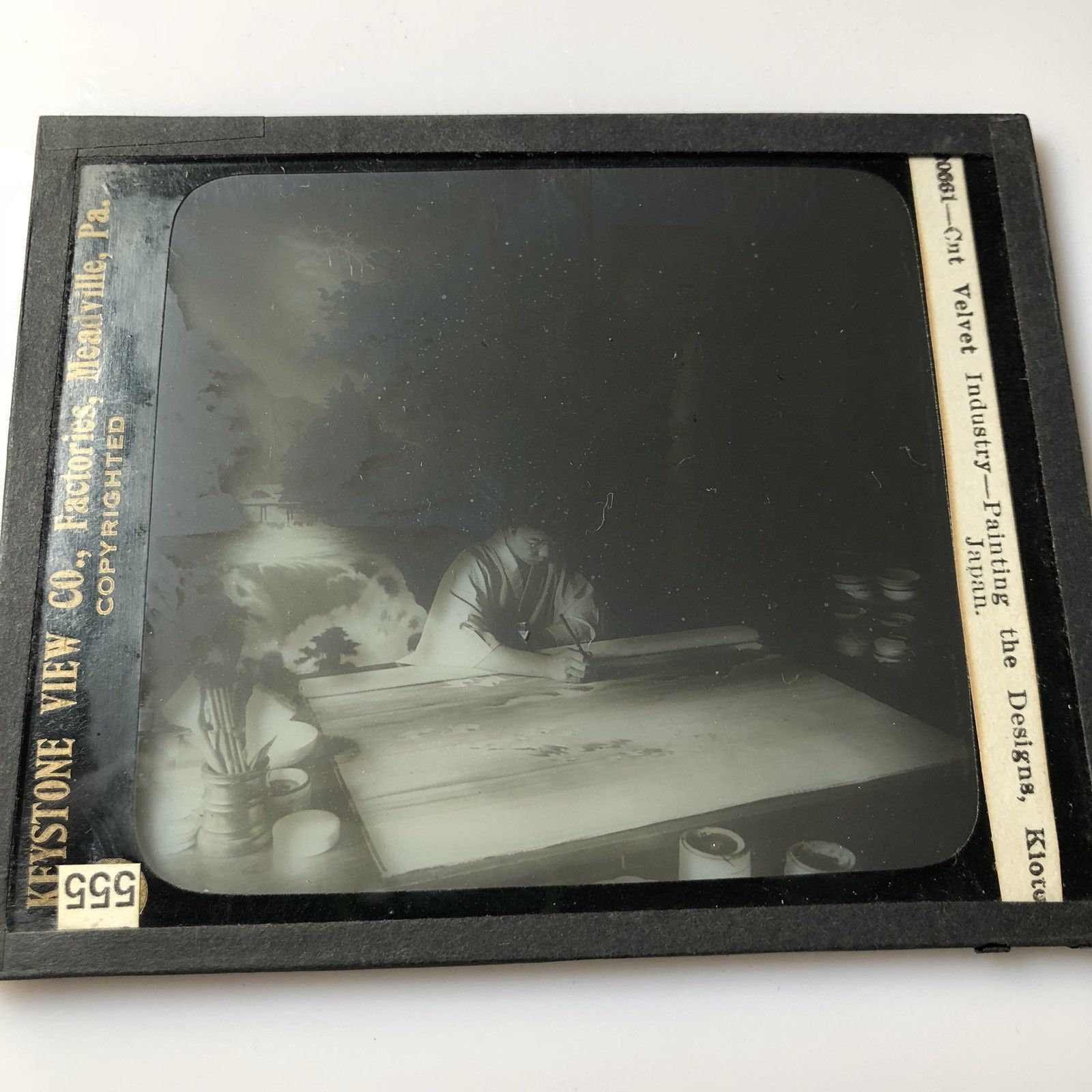 Vtg Magic Lantern Glass Slide Photo Keystone Artist Painting Velvet Kioto Japan