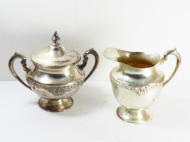 VTG Double Plate Silver on Copper footed Sugar bowl with lid & creamer set - $41.58