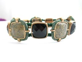 Liz Claiborne Stretch BRACELET IN GREEN Gems Vintage Goldtone Elastic  - $23.99