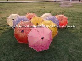 Decorative Indian Hand Embroidered Parasol Vintage Sun Shade Umbrella 30... - $118.45