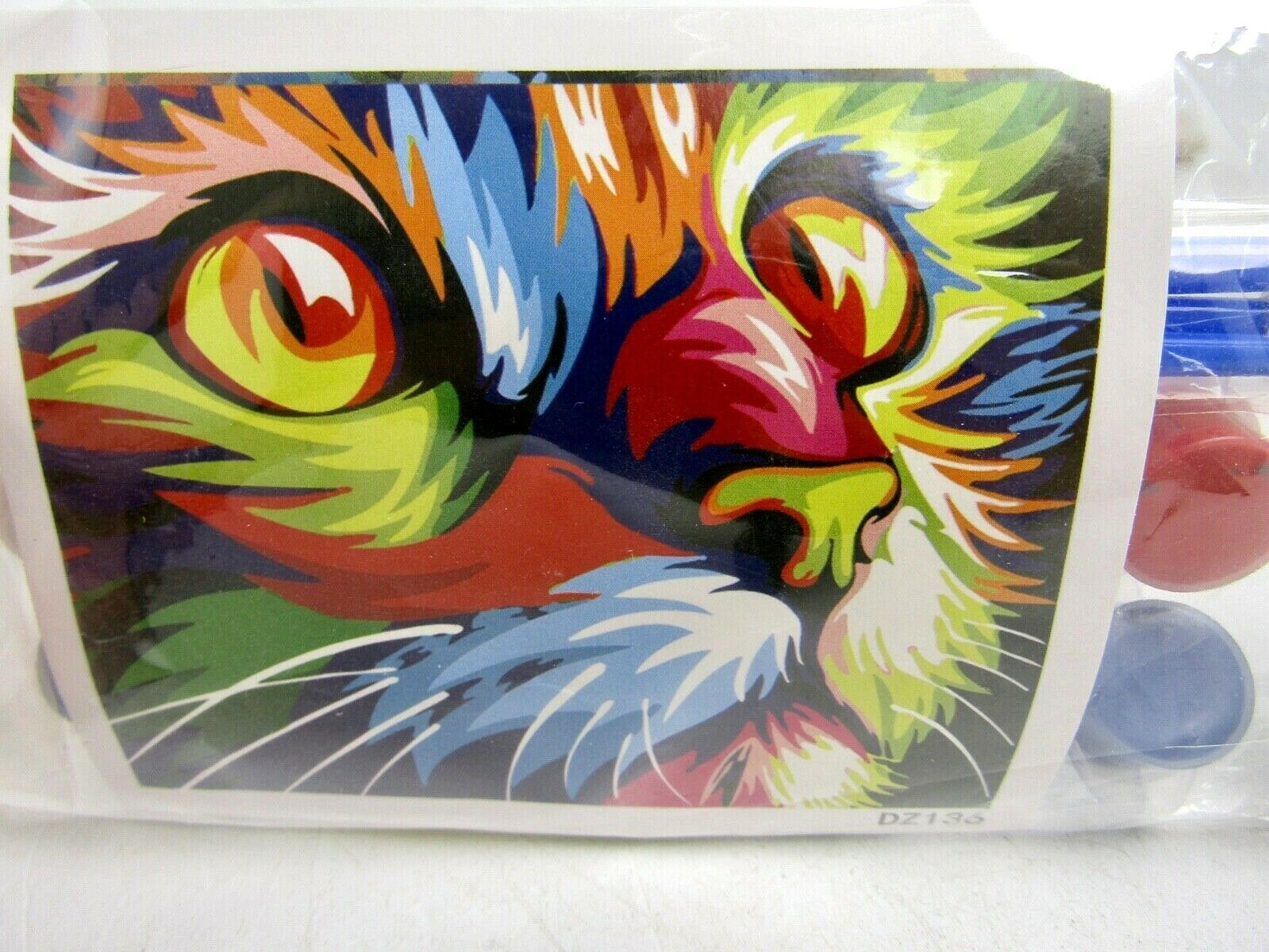 "Primary image for Colorful Cat DIY Paint By Numbers 16"" x 20"" Canvas Painting w/ Frame"