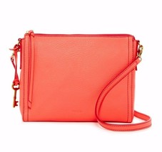 New Fossil Women Emma East West Leather Crossbody Bag Neon Coral Color - $89.09