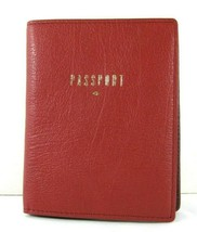 Fossil NWT $55 Red Wine Leather Passport Wallet Case Rfid Pebbled Card S... - $35.64