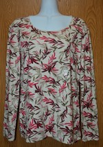 Womens Burgundy Leafy Print Karen Scott Long Sleeve Shirt Size Small NWT... - $6.92