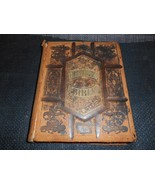Antique 1874 ILLUSTRATED POLYGLOT FAMILY BIBLE Religious Prayer Book Old... - $494.99
