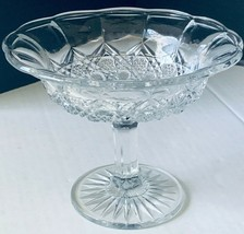 Glass Compote Comport Diamond Cut Pressed Clear Pedestal Footed Candy Di... - $15.30