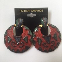 Vintage Big Dangle Round Doorknocker Earrings Artsy Boho Sugared Enamel ... - $12.58