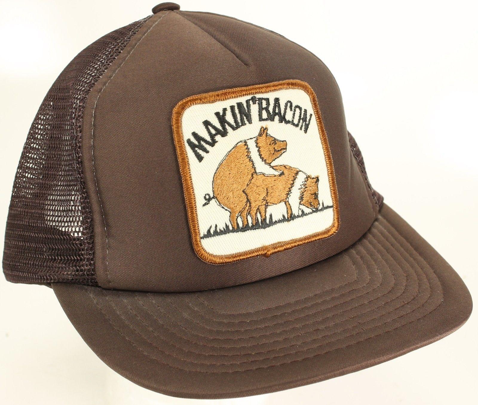 11af346e5c8 Vtg Snapback Makin Bacon Mesh Trucker Hat and 50 similar items