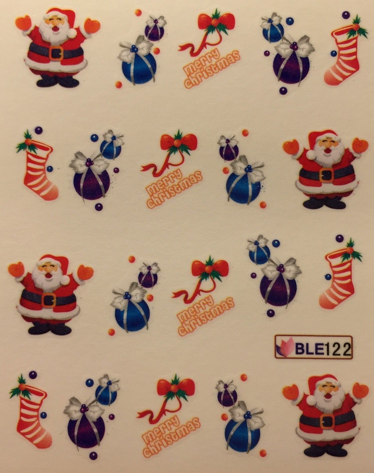 BANG STORE Nail Art Water Decals Merry Christmas Santa Ornament Stocking Holiday