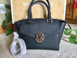 NWT Michael Kors Hudson Saffiano Leather MD Satchel Crossbody Handbag Black - $158.38
