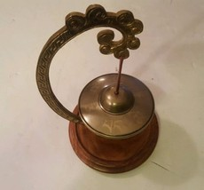 Hanging Brass Bell On Stand Chinese - $29.10