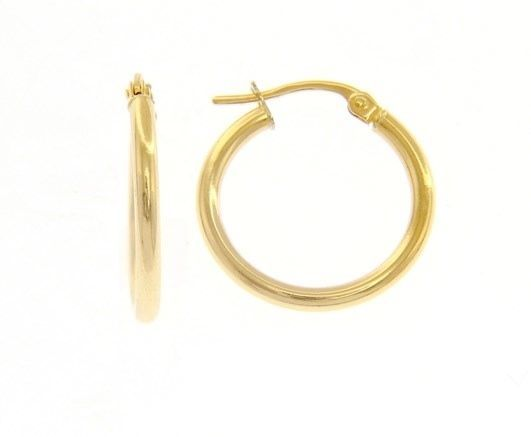 18K YELLOW GOLD ROUND CIRCLE EARRINGS DIAMETER 15 MM, WIDTH 2 MM, MADE IN ITALY