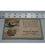 Home Treasure 1923 Advertising Paper Card Henry B Wright Gold Silver Ref... - $18.99