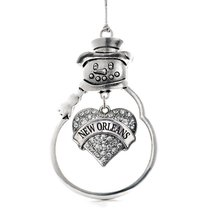Inspired Silver New Orleans Pave Heart Snowman Holiday Christmas Tree Ornament W - $14.69