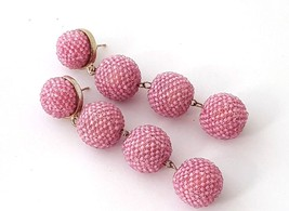 Pink Four Bubble Ball Statement Post Drop Earrings Dangles Les BonBon - $32.00