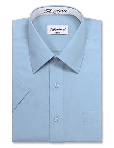Berlioni Italy Men's Premium Classic Button Down Short Sleeve Dress Shirt (S (14
