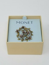 Vintage Monet floral leaf brooch pin gold tone signed rhinestone - $24.75