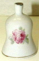 """Vintage Made In Japan Bell Gold Trimmed Rose Mini Ceramic Bell 2 1/2"""" Tall - $10.89"""