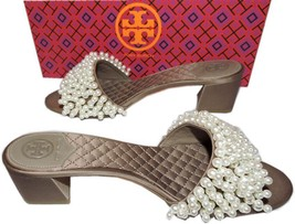 Tory Burch Brown Quilted Satin Tatiana Pearl-embellished Sandals Shoes M... - $165.00
