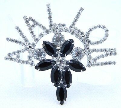 VTG AVALLON France Large Clear Black Rhinestone Brooch Pin