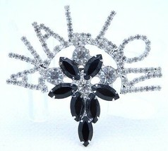 VTG AVALLON France Large Clear Black Rhinestone Brooch Pin - $29.70