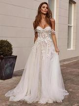 Stunning Off the Shoulder Lace Appliques Sleeveless Open Back Princess A Line Br image 3